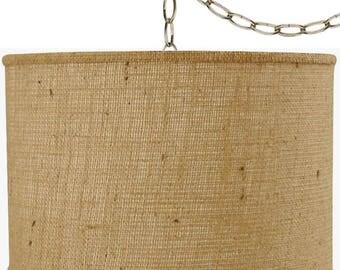 rustic vintage antique burlap swag lamp pendant light hanging lamp shade chandelier plug in lamp usa
