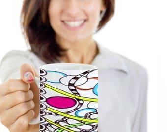 Colored Zentangle Coffee Mug Hand Drawn by ZenJoanie