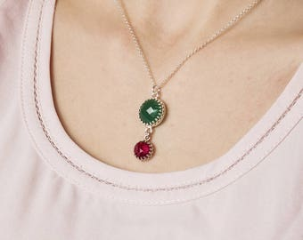 Sterling Silver Necklace with Gemstone Green Onyx and Red Ruby