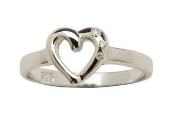 Sterling Silver Open Heart Baby Ring with CZ for Girls (BR-71 Clear)