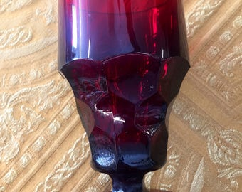 Vintage Anchor Hocking Ruby Red Water Tall Footed Water Glass