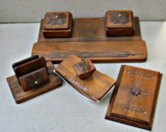 Soviet Russian  desk top writing set 1950s -60s , double  inkwell , vintage ink blotter , wooden  letter holder ,hinged note pad cover.
