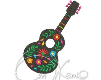 MACHINE EMBROIDERY DESIGN - Mexican guitar, Mexican design, Calavera, Dia de los muertos, Day of the dead