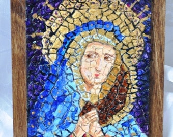 "Madonna, OOAK, Mosaic on board, 4""x6"" (10cmx15cm)"