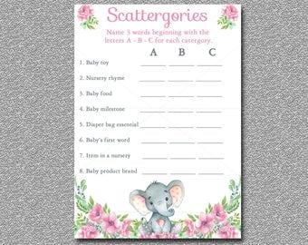 baby shower game scattergories game printable girl baby shower