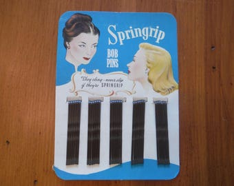 1940's Springrip Bobby Pins - Vintage Bob Pins Hairdresser - '40's Deadstock Bobby Pins Package - Vintage 1940's Hairdressing Hair Stuff
