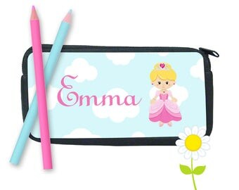 Personalized Princess Pencil Case - Pink Princess Pencil Bag for Girls - Custom School Supplies - Pencil Pouch w/ Name - Back to School Gift