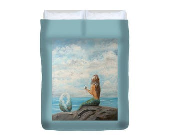 Mermaid blue duvet, mermaid bedspread, mermaid bedroom decor, original mermaid art by Nancy Quiaoit.