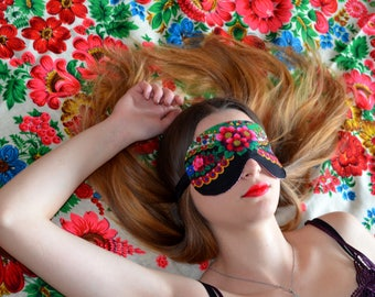 Floral Sleep Mask, black Sleeping mask, sleep eye mask, travel mask, Rose Print Mask