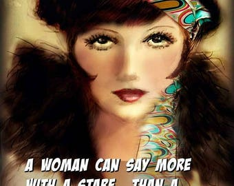A WOMAN'S STARE Louise Brooks portrait..- by Anita of Zen to Zany -Prints or Greeting Card.  No Zen to Zany watermark on Prints