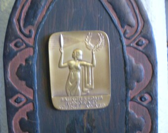 Art Deco Wall Sconce with Bausch & Lomb Science Award Hand Made  Wood Plaque candle Holder