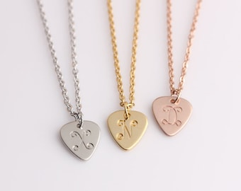 Gold guitar necklace etsy delicate guitar pick initials necklace personalized gift for her bridesmaid gifts necklace gold aloadofball Image collections
