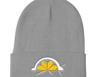 LemonBug Knit Beanie, Embroidered, Cute Hat, Lemon, Gift for Her, Gift for Him, Best Friend Gift, Logo, Branded, Accessories, Hats and Caps