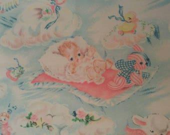 Vintage doll blanket - BABY IN CLOUDS