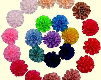 "2"" 20/40/60 MULTILAYERED SATIN FLOWER cabbage ribbon flowers, carnation flower, fabric flower, satin wedding flowers, head band flowers"