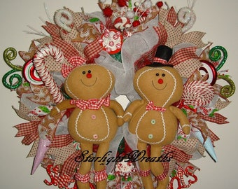 Gingerbread Mesh Wreath, Gingerbread Boy and Gingerbread Girl Mesh Wreath, Candy Wreath, Front Door Wreath, Holiday Wreath, Christmas Wreath