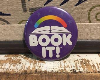 Vintage Book It Pizza Hut Pinback Button, 1985