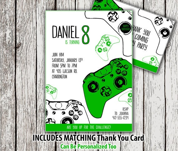 Printable video game birthday invitation thank you card gamer il570xn stopboris Images