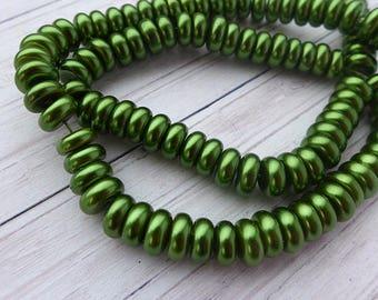 Green glass beads 8x3mm 10pcs