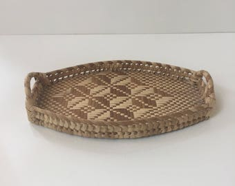 Vintage Oval Basket Tray with Handles