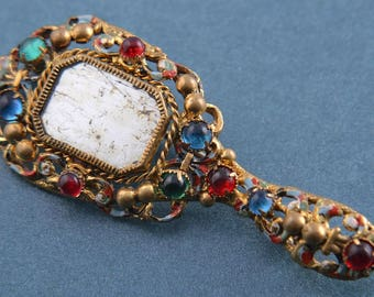 Gilt 1950's Hand Mirror Brooch With Paste (928j119)