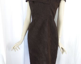 vintage CATHERINE REGEHR off the shoulder sheath dress/ripple texture micro-pleated chiffon/ LBD alterantive: size s- fits size 8 Us woman
