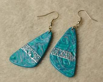 Long dangling earrings, Fimo / polymer clay - blue green patterns and silver tribal frieze