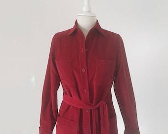 Vintage 1970s Corduroy Dress, Valentines Dress for Her, 70s Dress, Pinwale Corduroy Dress, Red Dress, Ports International Dress