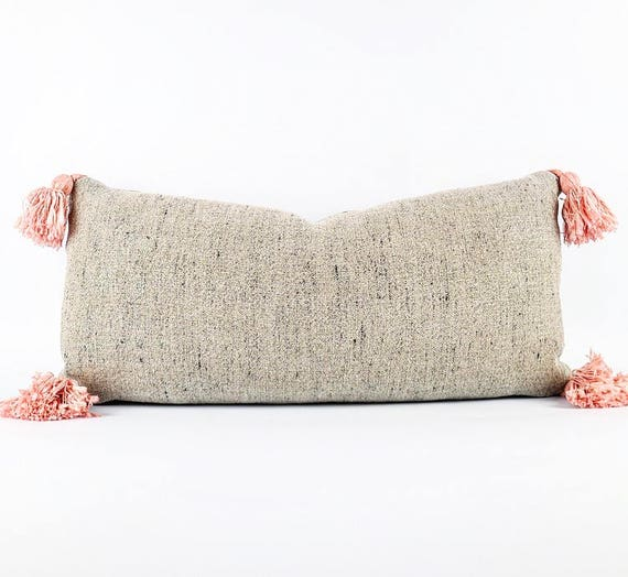 Thick Belgian Flax with Black Linen And Blush Pink Tassel Lumbar Pillow 11x23