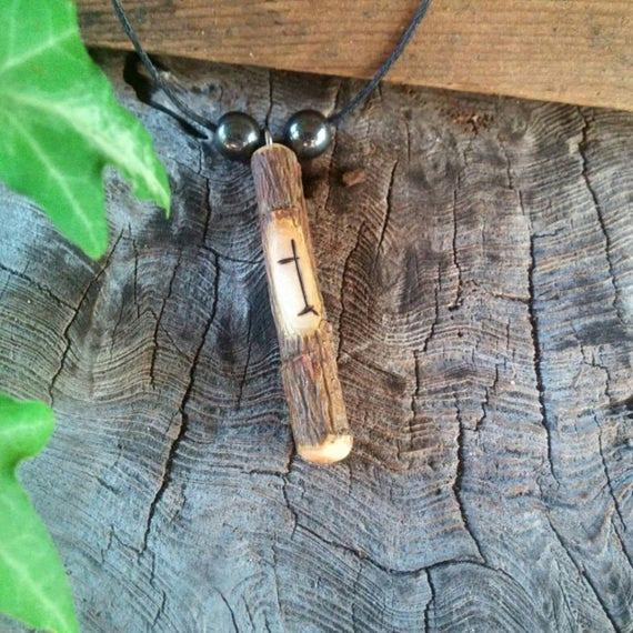 Hawthorn Amulet Necklace, Ogham Pendant, Hawthorn Wood Necklace, Hawthorn, Ogham, Hawthorn Wood, Hawthorn Tree, Adjustable Necklace