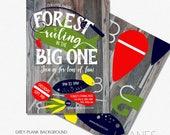 "Fishing Birthday Invitation | Digital Printable Fish Invitation | Reel Big One Invitation | O-Fish-Ally - 5X7 with *bonus reverse side"""