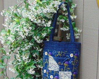 Droughtlander Market Bag in Blue Floral