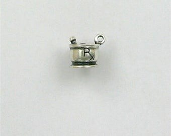 Sterling Silver 3-D Pestle and Mortar Charm