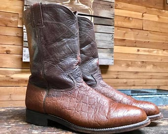 Vintage Larry Mahan Western Ropers Vtg Two Tone Brown Leather Cowboy Boots Made in USA Men's Size 9 1/2
