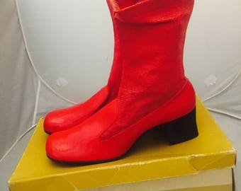 60s Red Go Go Boots Ankle Boots Heels Size 7.5 1/2 37 38 by Thom Mcan unused with Box