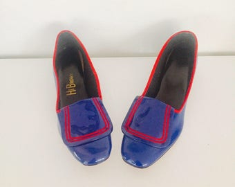 60s Mod Heels Shoes Patent Red Blue Chunky Heels Size 7 36 37 unused Deadstock by Hi Brows