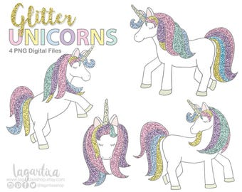Pastel GLITTER Unicorn Clip art, head, runing, mint, purple, pink, blue, png elements for party decoration