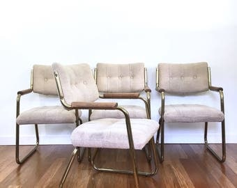 4 Vintage Brass Dining or Side Chairs, Armchairs, Hollywood Glam, Mid Century Arm Chairs, Milo Baughman Style