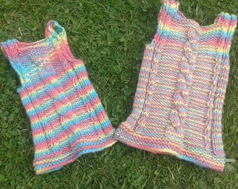 Baby vest **Made to order** hand knitted baby vest, summer vest, wool baby top, tank top, chunky knit, 'Term Time' tank