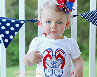 Patriotic Flip Flops Girls Embroidered July Fourth Personalized Custom Shirt OTT Glitter Hair Bow Headband