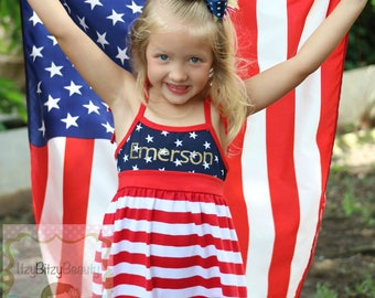Fourth Of July Dress Glitter Gold Vinyl Patriotic Red White And Blue Stars And Stripes Custom Name