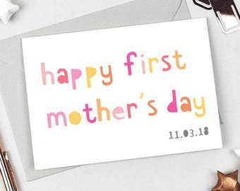 Mother's Day Card - Happy 1st Mothers Day - Card for a new mum - Personalised Mothers day card - Mom Card