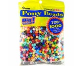 1000 pcs. 6x9mm Pony Beads, Big value Opaque Multicolor Pony Beads. Kid craft. Colored Necklace Beads. Solid Color Plastic Beads ~3.5mm hole