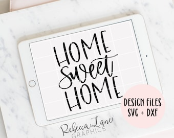 hand lettered home sweet home SVG cut file | DXF | jpg | calligraphy | vinyl cut file | Cricut | Silhouette