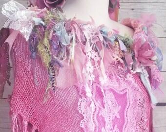 Pink Sunshine Shabby pixie Chic mori Lace fiber textile art poncho vest Jacket Shrug Sweater Top  Embellished crochet ruffle bolero shawl OS