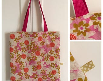 Pink floral print linen book bag/tote bag