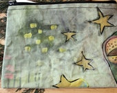 51 FROG STARS - large reclaimed canvas zipper pouch