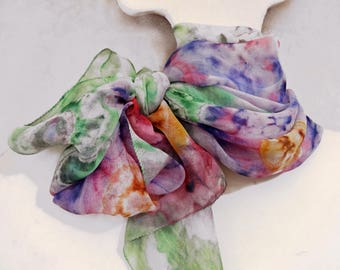 Colorful scarf Hand painted summer scarf Shibori Bohemian extra long scarf Abstract Flowers Boho Floral multicolor green pink yellow lilac