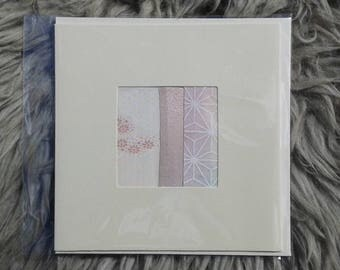 Vintage Kimono fabric greetings card 'Ready to Frame'