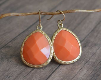 Elegant Earrings. Vintage Style Earrings. Gift Idea. Gift Under 20 Dollar. Gift For Her. Metal Earrings. Orange Earrings. Summer Earrings.